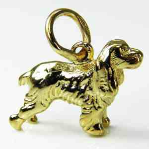 9ct Spaniel Dog Charm / Pendant
