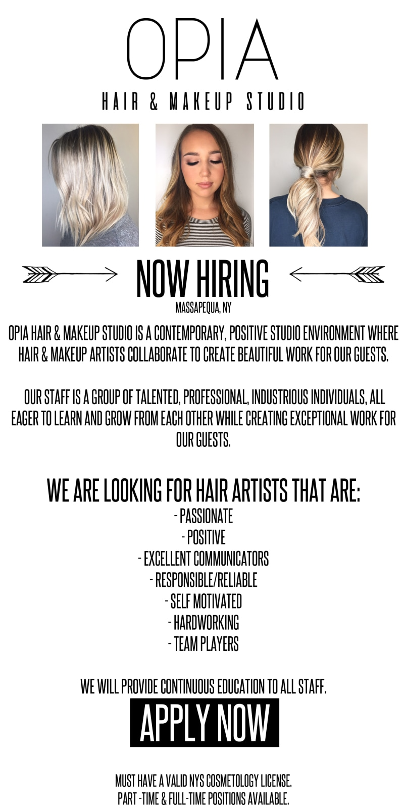 Career Opportunities Opia Hair Makeup Studio