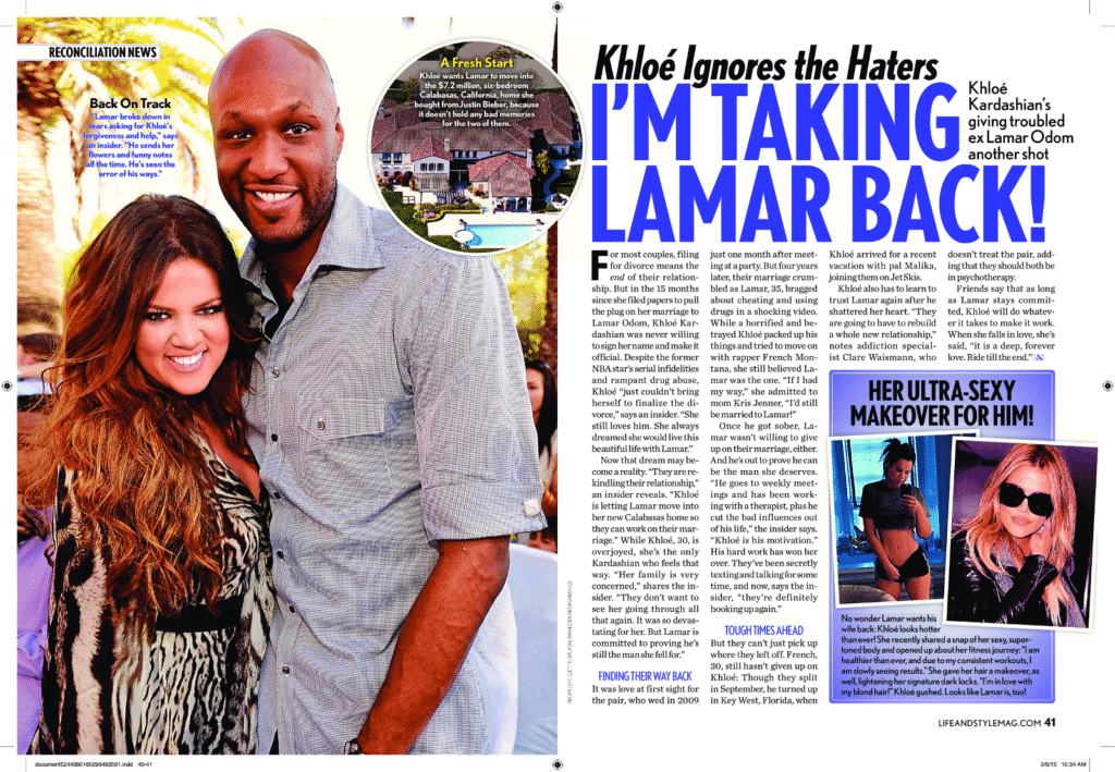 Lamar Odem and Khloe Kardashian in Life & Style weekly magazine titled Khloe ignores the haters I'm taking lamar back