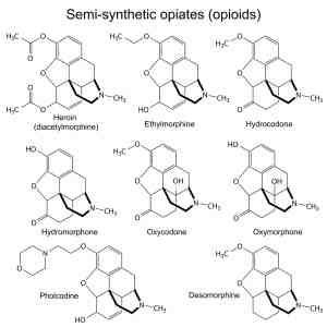 Chemical formulas of opiates and opioids