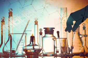 Laboratory research in science and medical setting. Illustration for page addressing how carfentanil linked heroin overdoses