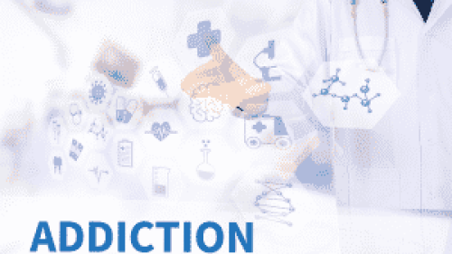 A heroin addiction treatment image with nurses and the word addiction featured.