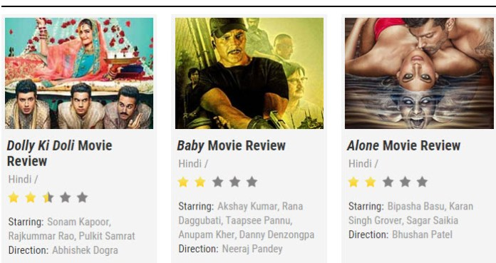Snapshot of ratings given by NDTV movie-reviewer