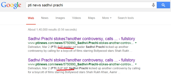 PTI News referring Sadhvi Prachi as a BJP MP