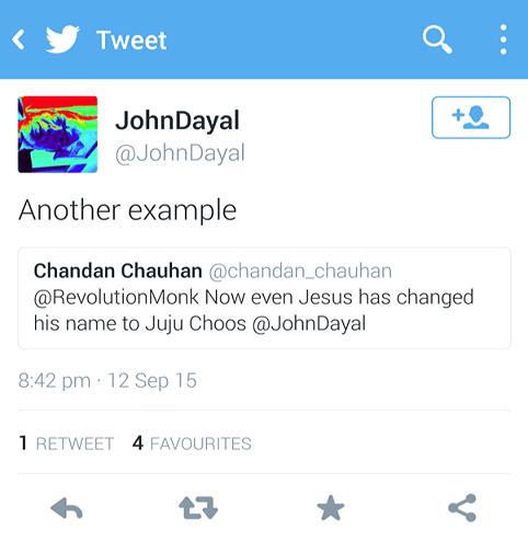 Abusive tweet by John Dayal