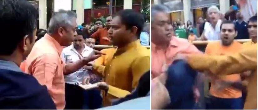 Thug Rajdeep Sardesai assaulting a common citizen