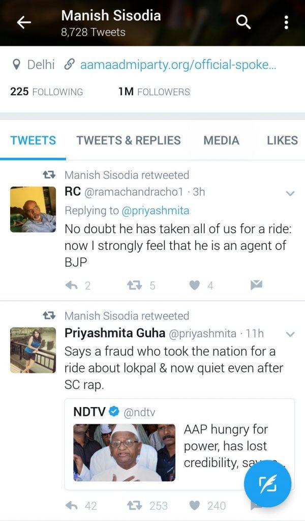 Screenshot of anti-Anna tweets
