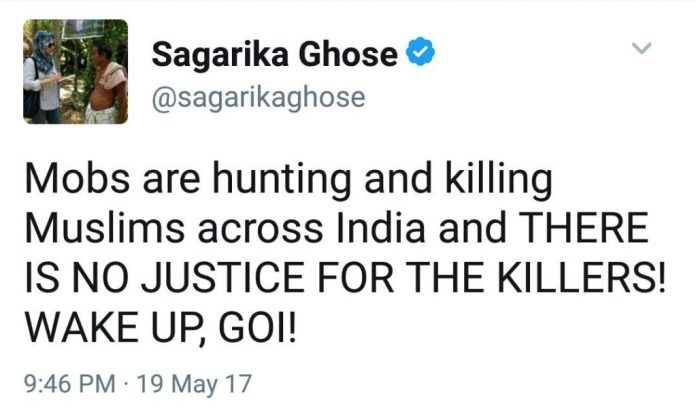 Hate speech by Sagarika Ghose