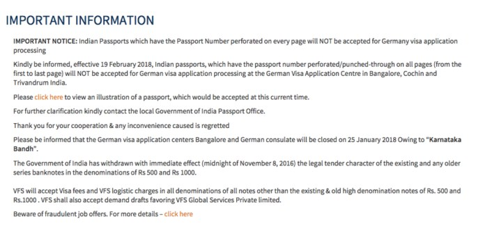 VFS Bangalore about Visa rules for traveling to Germany
