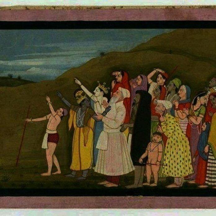 The painting is pahari, not Rajasthani or Mughal and depicts Krishna and Nanda Maharaj
