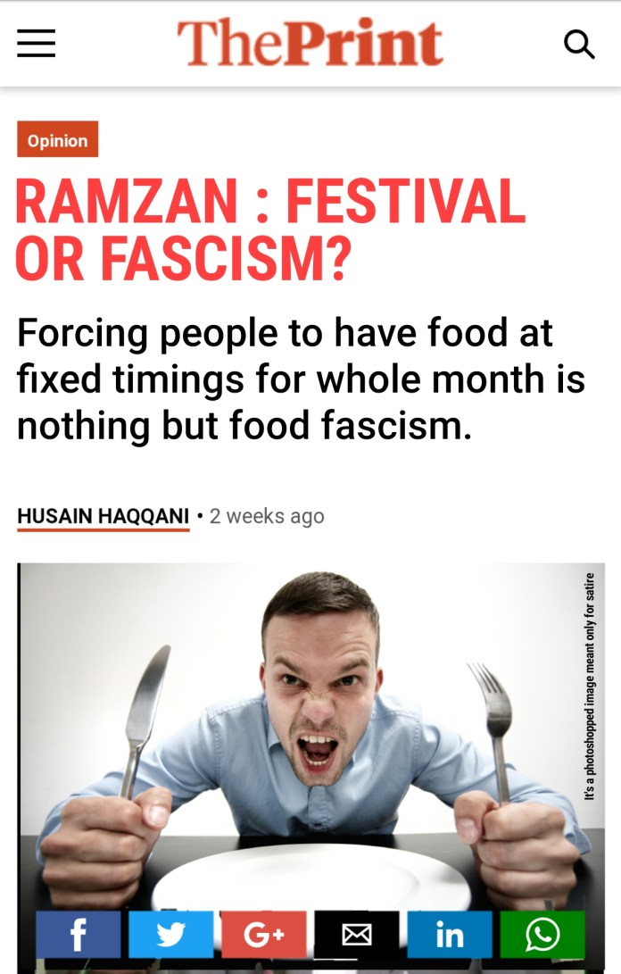 The Print's article on Ramzan (satire)