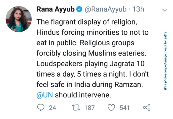 Rana Ayyub's tweet on Ramzan (satire)