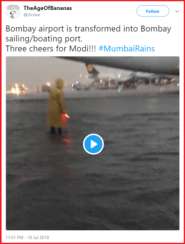 Twitter user followed by Nidhi Razdan and Congress spokesperson spreads fake news about Mumbai floods