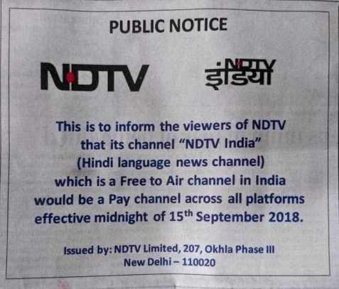 NDTV to be a paid channel