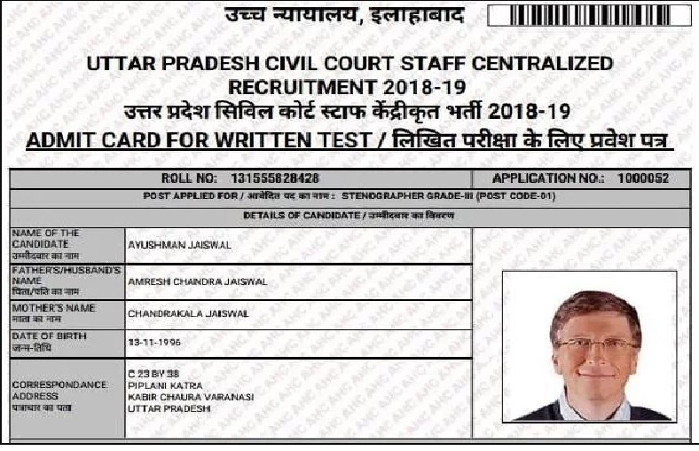 Applicant's photo gets replaced with Bill Gates' photo on High Court stenographer admit card