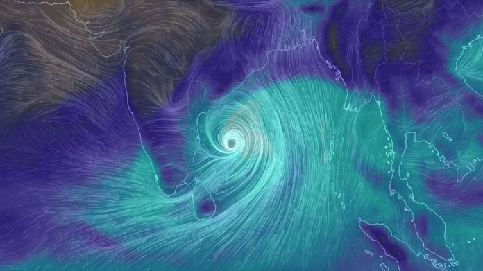 Computer model projection of Cyclone Fani moving toward India