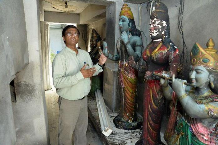 Idols in a temple in West Indies set to fire by three miscreants