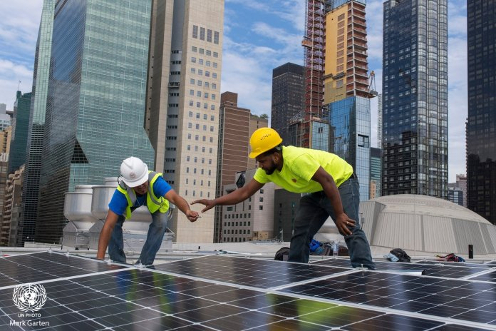 Solar panels gifted by India installed on the roof of the UN