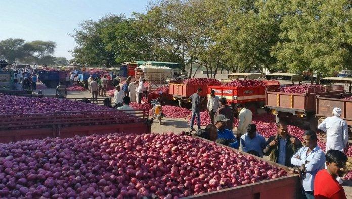 Onions in Lasalgaon market in Nashik