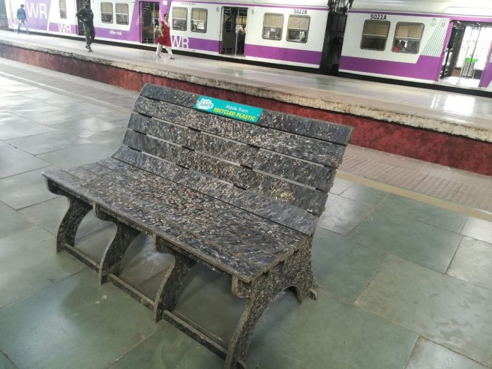 Western Railways have installed three benches at Churchgate station made of recycled plastic, collected from stations during an awareness drive in collaboration with Bisleri