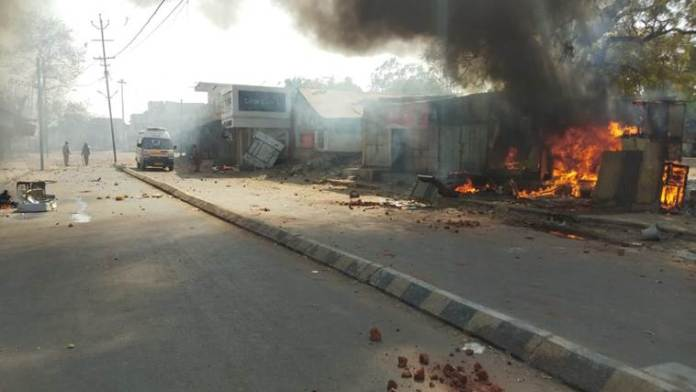 Communal flare-up between two communities as 25 houses and shops set ablaze