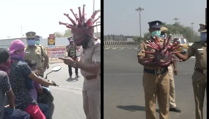 Chennai cop wears Coronavirus helmet, raises awareness among people