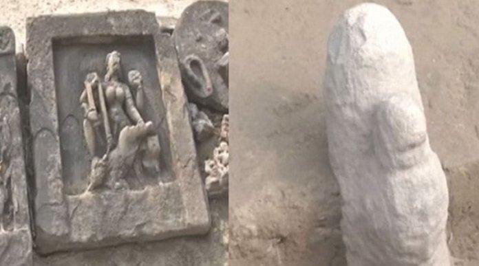A 4000-year-old Shivling was unearthed from excavations at Bhabhaniyav village near Varanasi