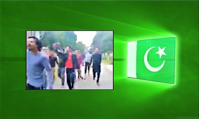 A screengrab of the viral clip on the Pakistan flag background