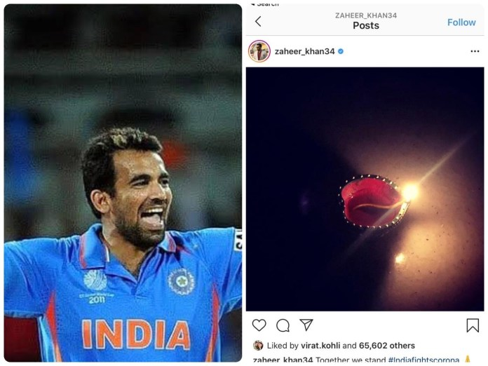 Cricketer Zaheer Khan gets slammed by Islamists for heeding PM Modi's call to light a lamp