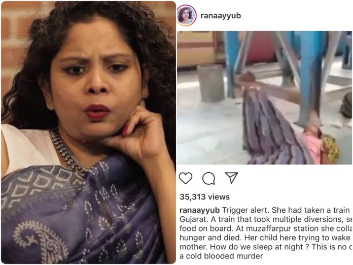 Journalist Rana Ayyub lies, shares a video on Instagram to claim a passenger on-board Shramik train had died of hunger