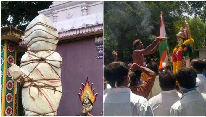 The Bharat Mata statue was restored to its former glory in Issaki Amman temple in Kanyakumari