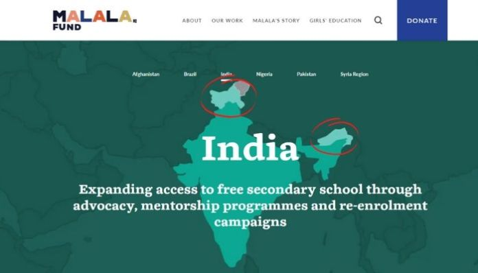 Malala Fund distorts Indian map, crops POK, COK and Arunachal Pradesh
