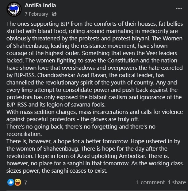 Antifa India wants to genocide Sanghis