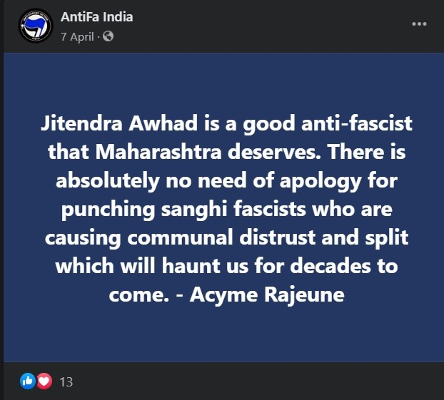 Antifa India calls NCP Minister Jitendra Awhad a 'good anti-fascist'
