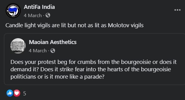 Antifa India advocates the use of molotov cocktails in protests