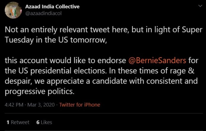 Azaad India Collective endorsed Bernie Sanders for President