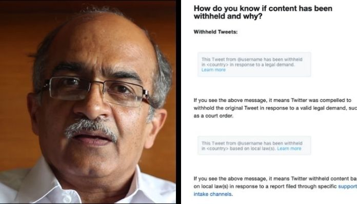 Contempt of Court: Twitter withholds 'tweets' of Prashant Bhushan