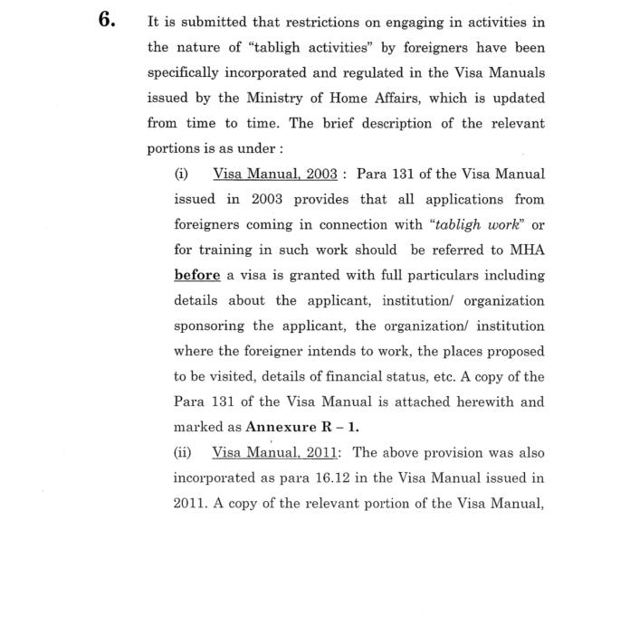 MHA response in the Tablighi Jamaat case