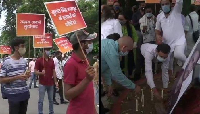 Karni Sena protests demanding CBI probe in the case of Sushant Singh