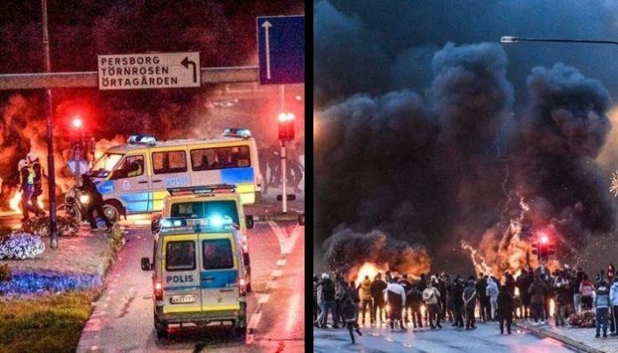 Riots break out in Sweden after a man sets the Quran on fire