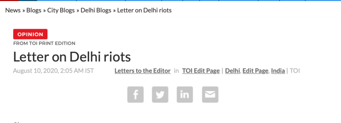 Headline of Delhi Police response to TOI article about Delhi Riots, as published by TOI