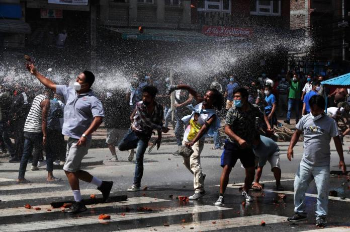 Protesters in Nepal took to streets to lock horns with riot police