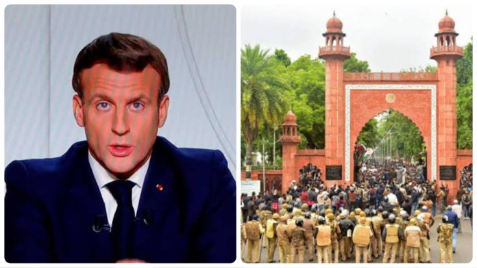 AMU students protests against President Macron over his comments on extremism row