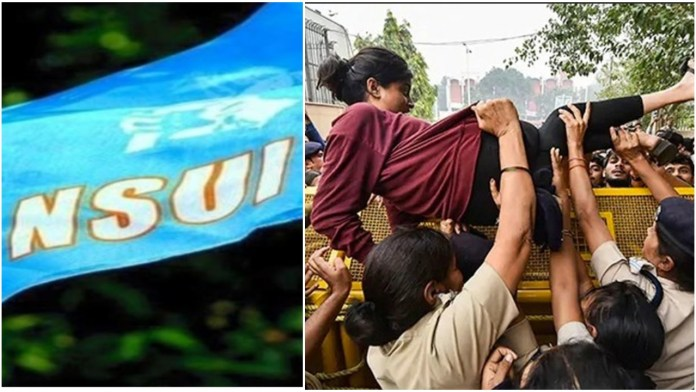 NSUI has used ABVP activist Shambhavi's image to calm that the BJP govt is brutalising students