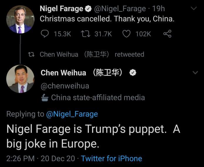 Chen Weihua vs Nigel farage