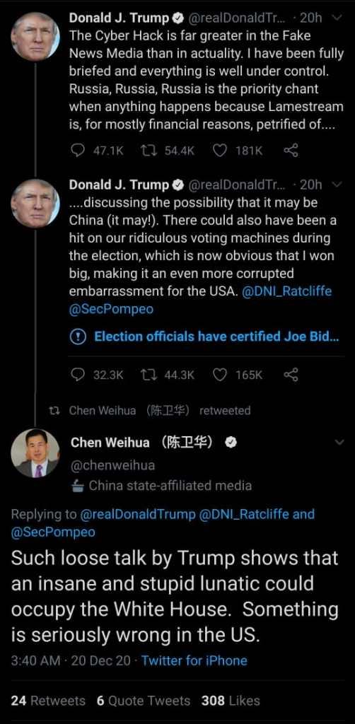 "Chen Weihua calls Donald Trump a ""stupid lunatic"""