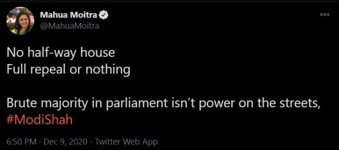 The problematic tweet by Mahua Moitra