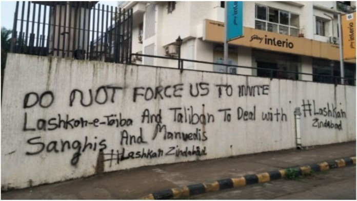 Graffiti hailing Lashkar and Taliban in Mangaluru