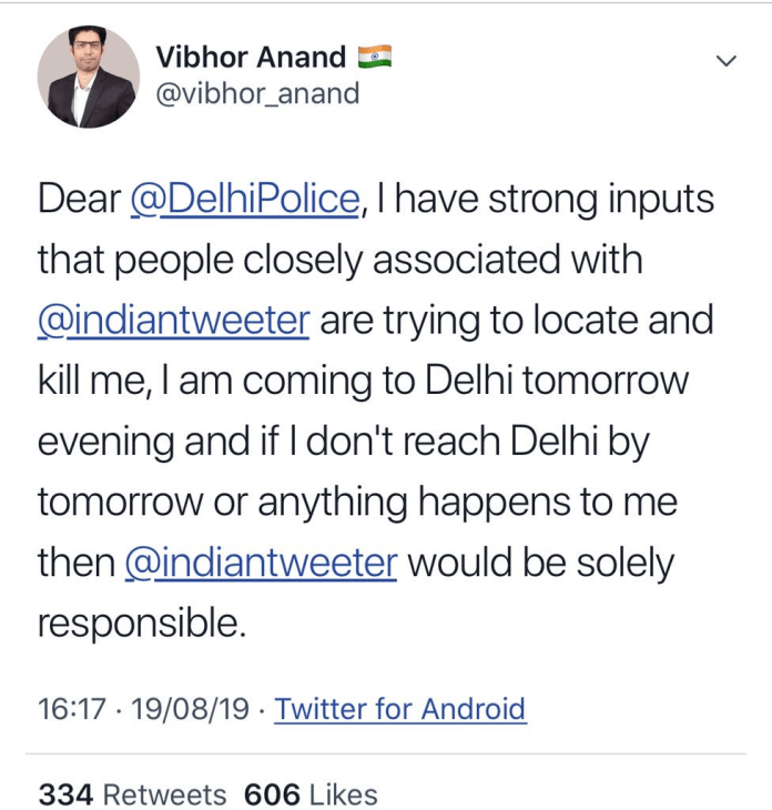 Vibhor Anand claims people are trying to kill him