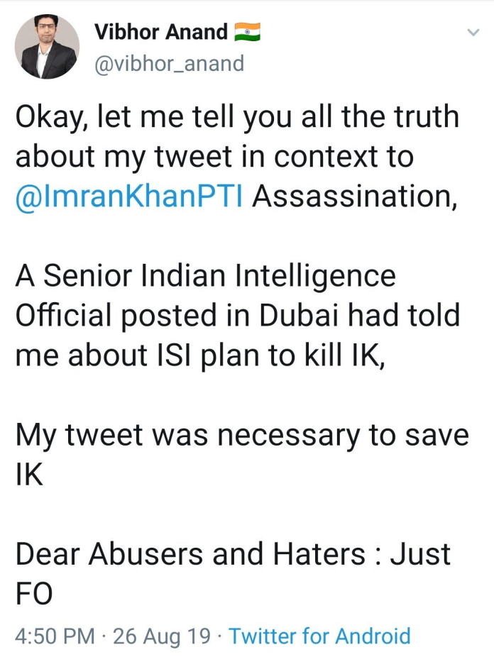 Vibhor Anand claims ISI was planning to assassinate 'IK'
